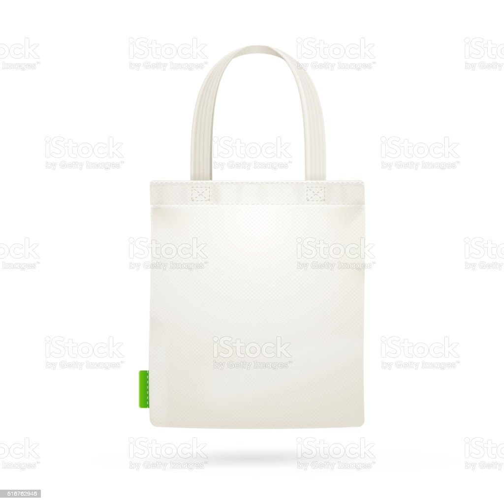 White Fabric Cloth Bag Tote. Vector vector art illustration