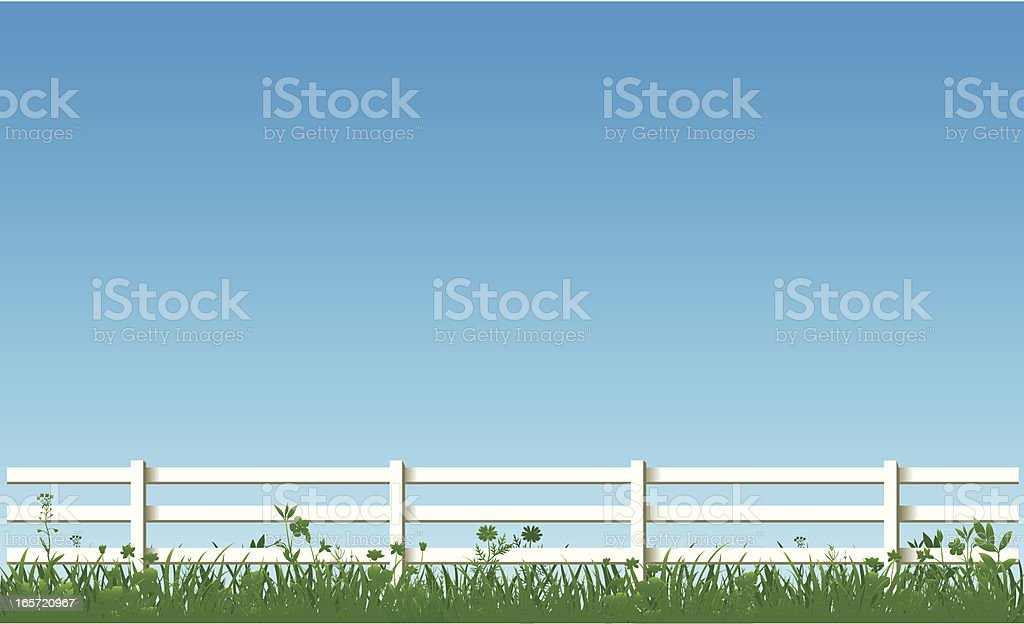 White Fence And Green Grass royalty-free stock vector art