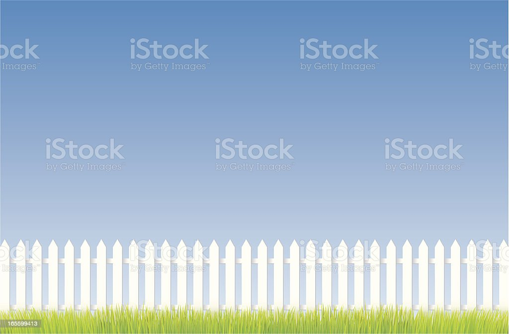 White fence vector art illustration