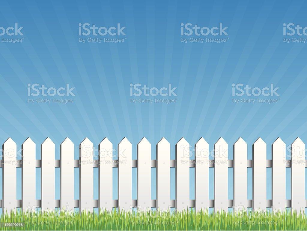 White fence vector art illustration