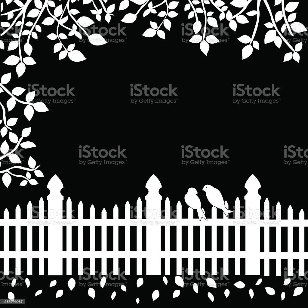 Weißer Zaun Mit Vögeln Und Geäst Auf Schwarzem Hintergrund Vektor