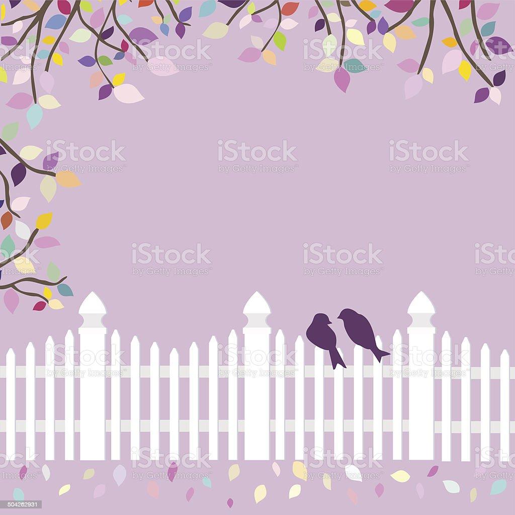 Weißer Zaun Mit Vögeln Und Geäst Vektor Illustration