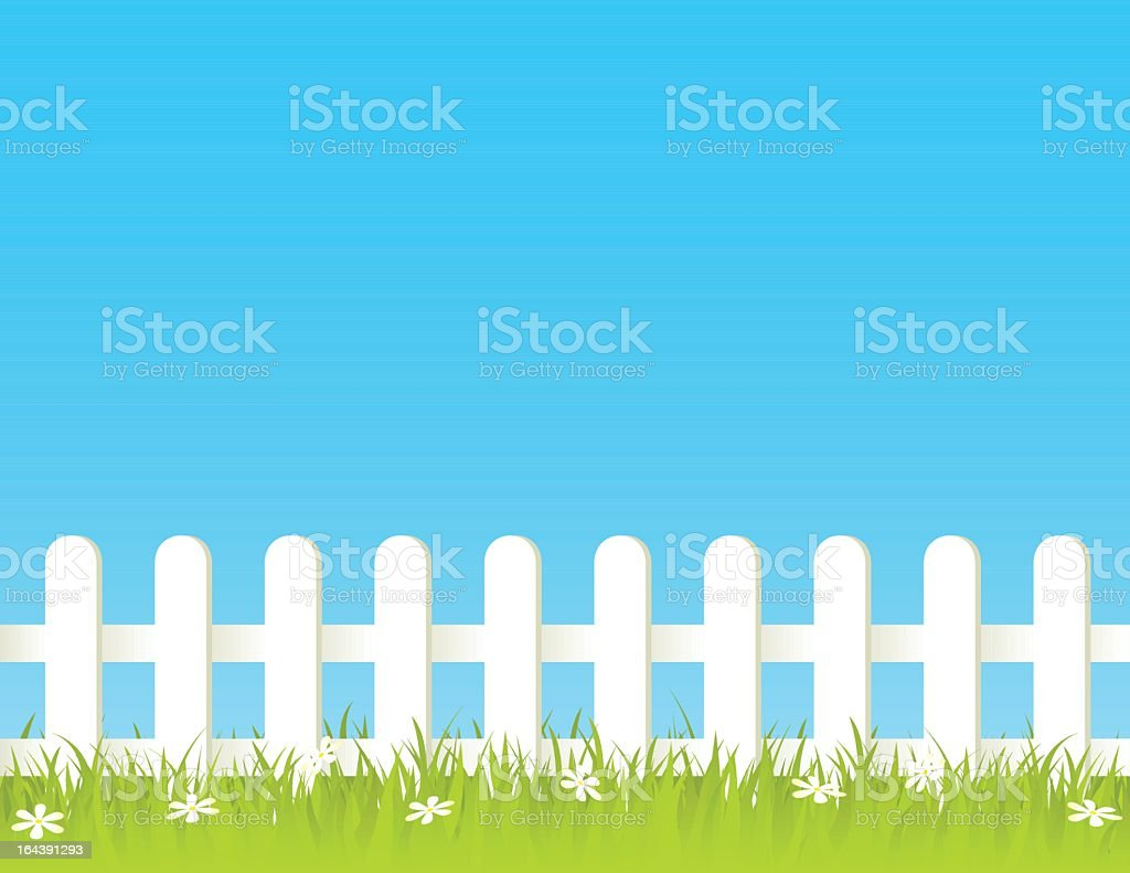 White fence with green and beautiful garden vector art illustration