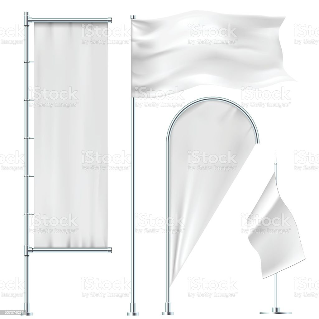 White flags and banners vector art illustration