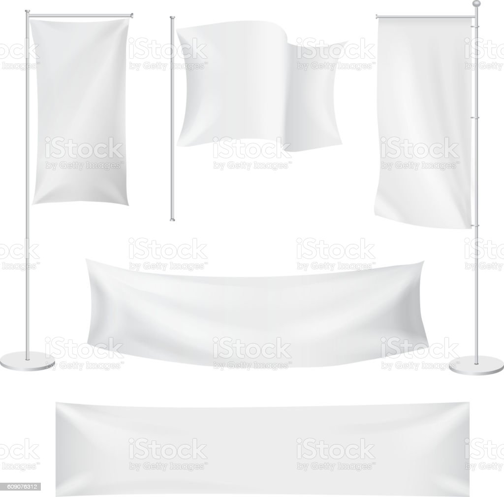 White flags and textile banners folds template set. Advertising banner, vector art illustration