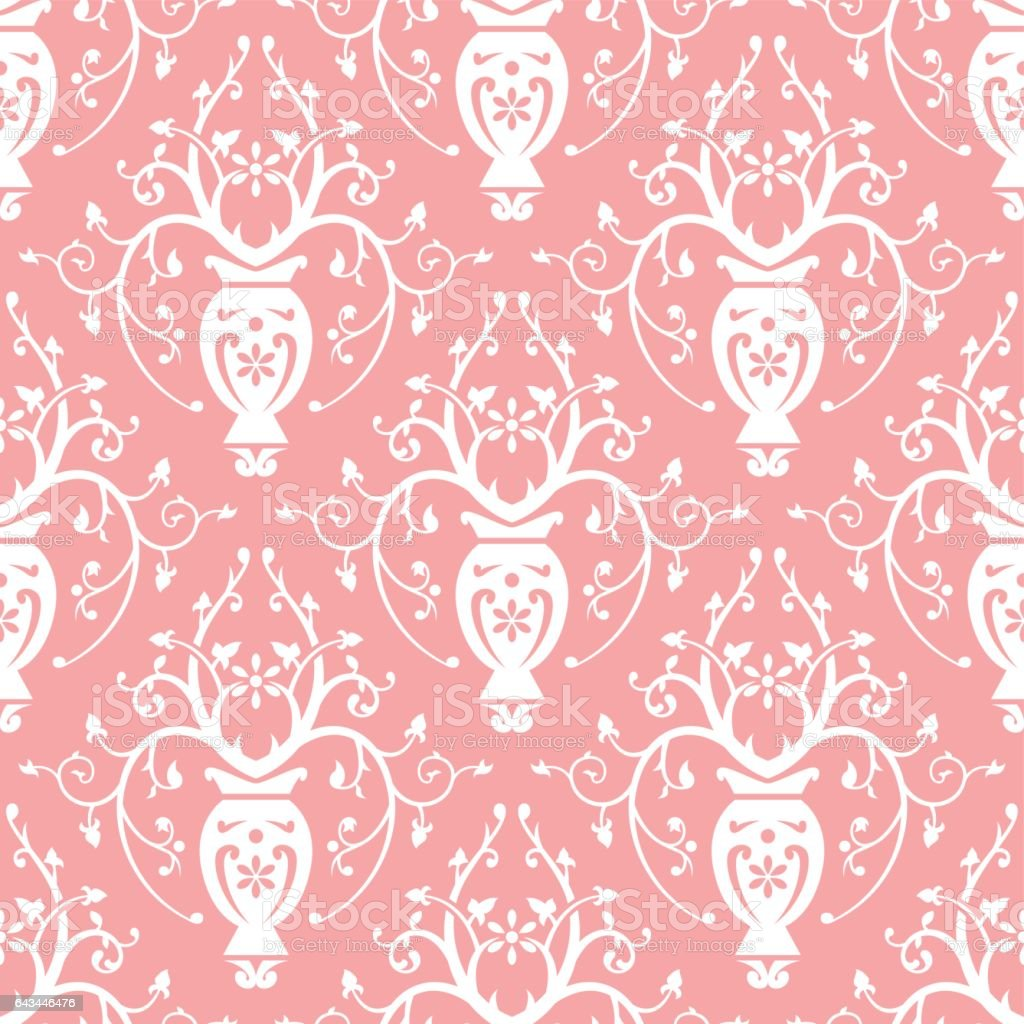 White Floral Decoration on Pink Background Seamless Pattern vector art illustration
