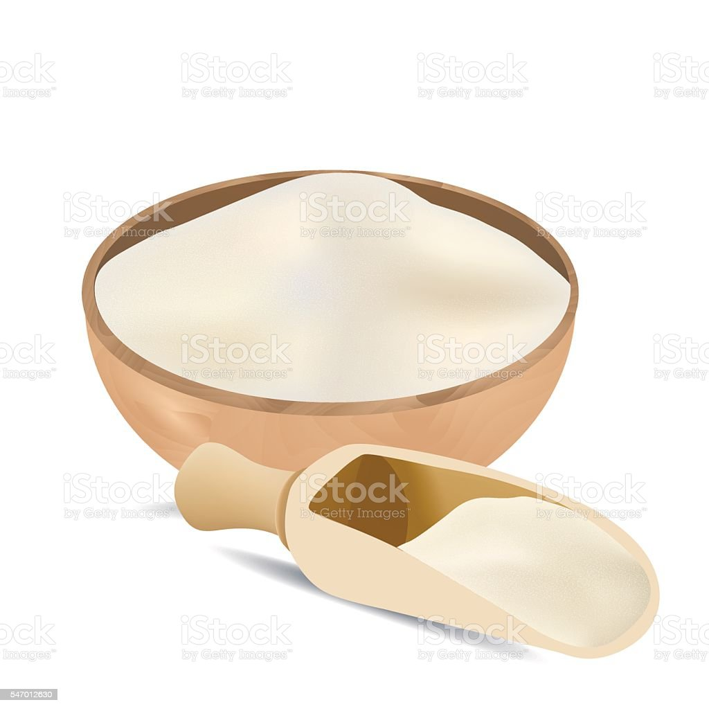 White flour in wooden bowl and spoon isolated vector art illustration