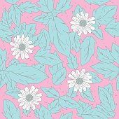 White flower doodle seamless pattern on pink backgrounds