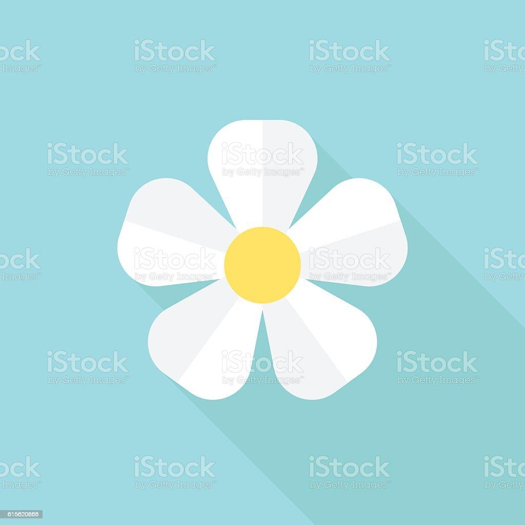 White flower on blue vector art illustration