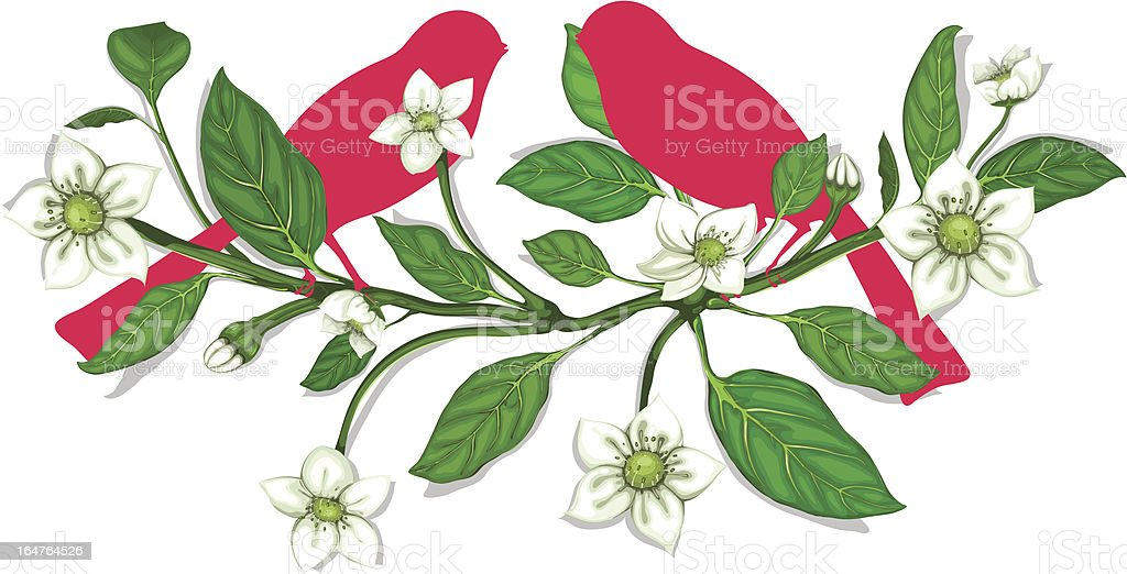White Flowers and Pink Birds on Twig Composition royalty-free stock vector art