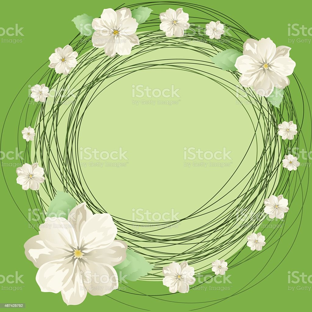 white flowers and round vector art illustration
