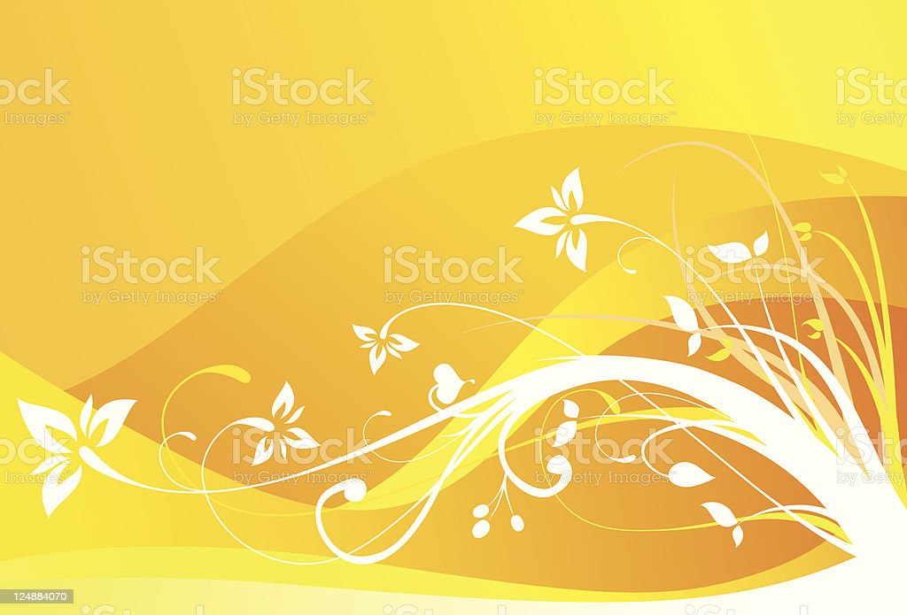 White Flowers Vector Floral Ornament Orange Background royalty-free stock vector art