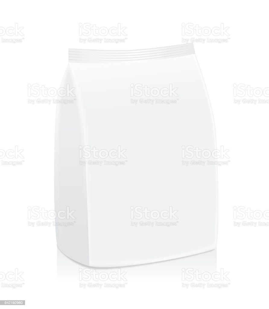 White foil bag package not have label. vector art illustration