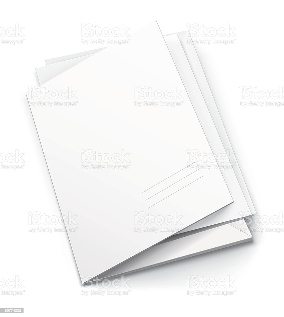 white folder with blank titular cover royalty-free stock vector art