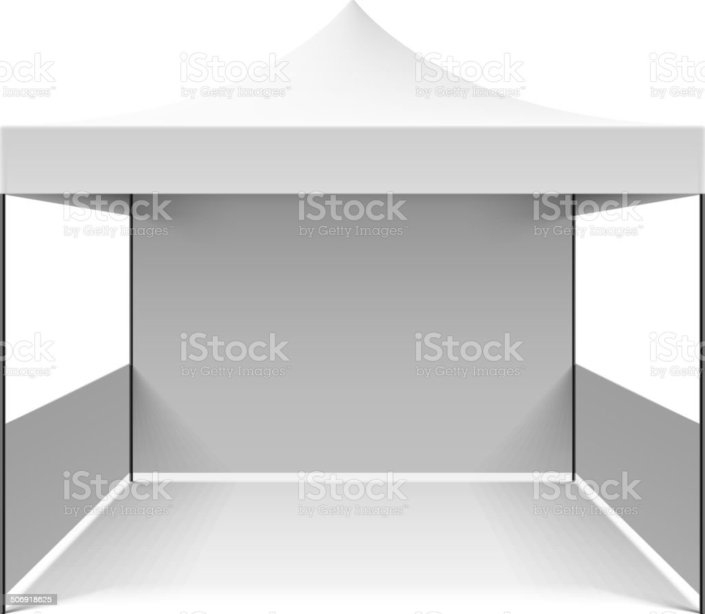 White folding tent vector art illustration