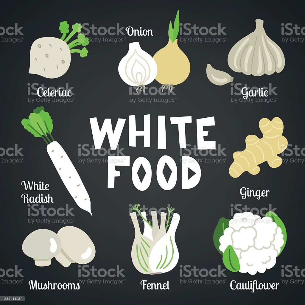 White food collection. Celeriac, onion, garlic, white radish, ginger, mushroom vector art illustration