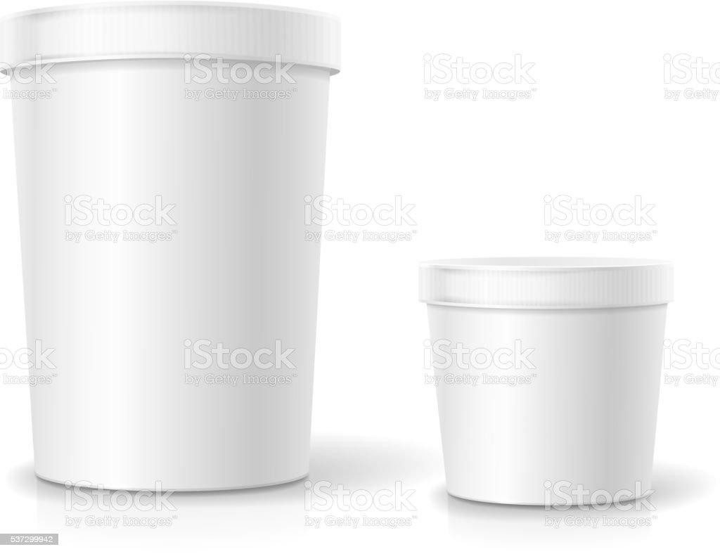White food plastic tub bucket container for dessert, yogurt vector art illustration