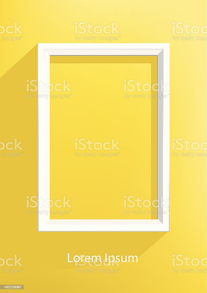 White frame on the yellow wall royalty-free stock vector art