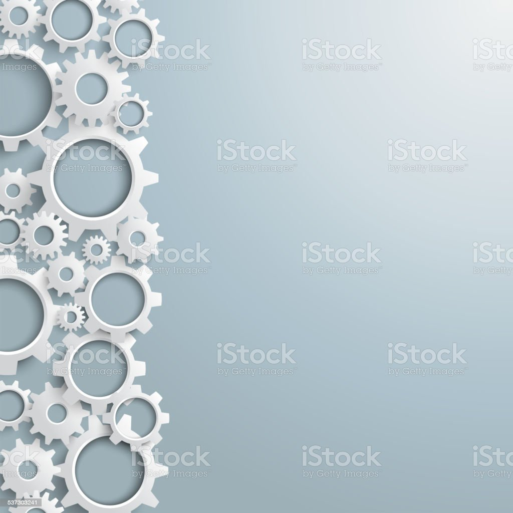 White Gears Left Side vector art illustration