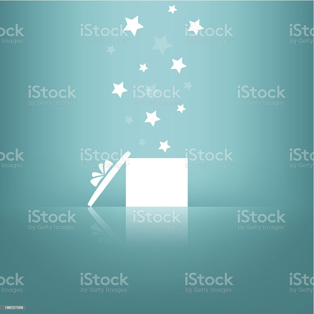 White gift box with stars on blue background. vector art illustration