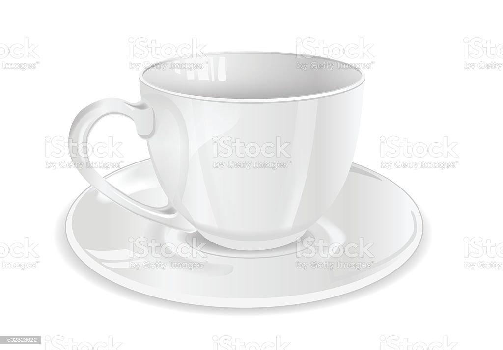 Copo branco, xícara com pires sobre um fundo branco vetor e ilustração royalty-free royalty-free