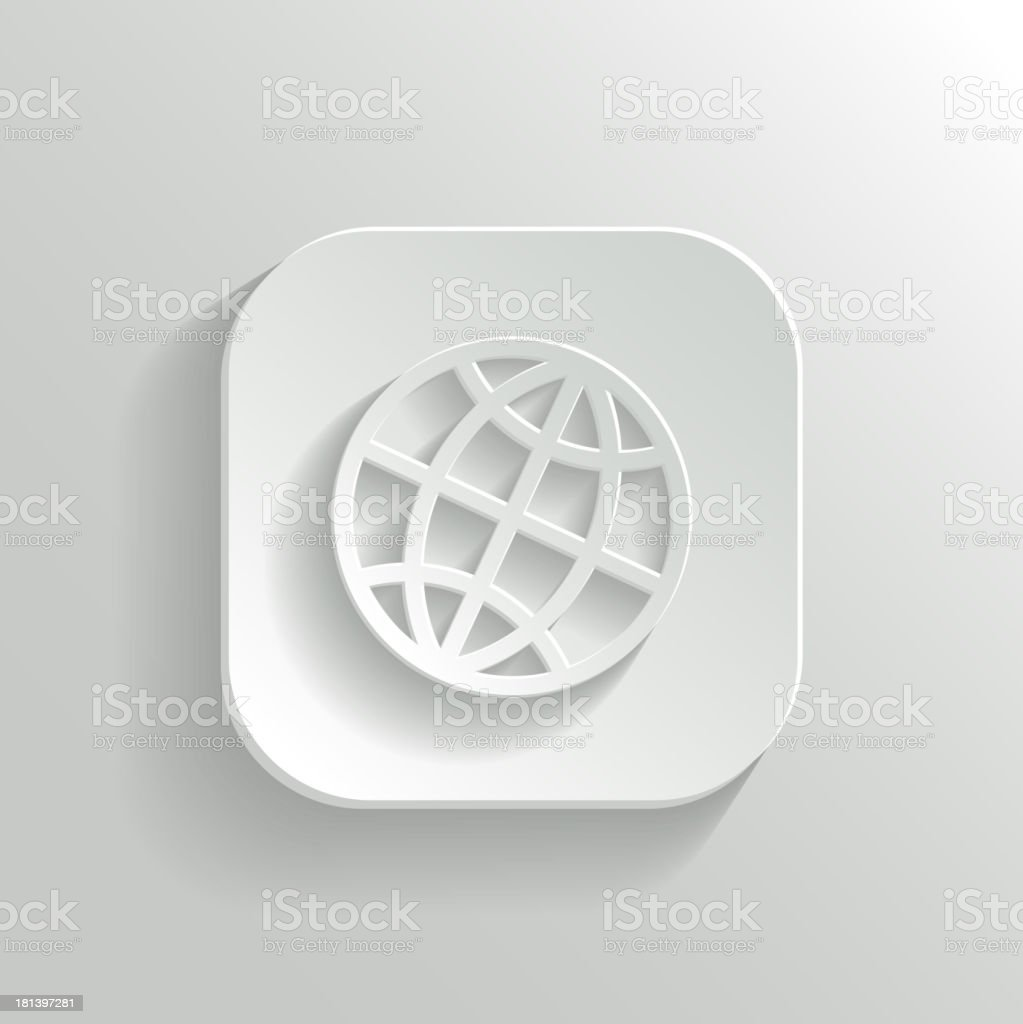 A white globe icon with a shadow royalty-free stock vector art