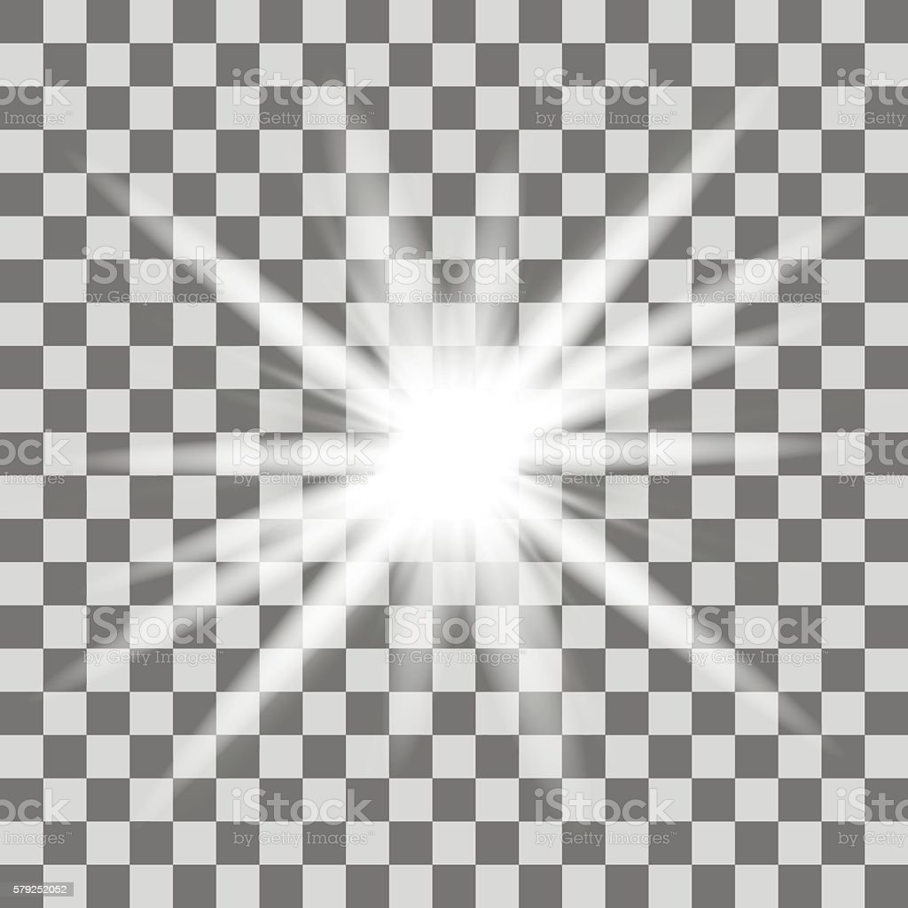 White glowing light burst explosion with transparent vector art illustration