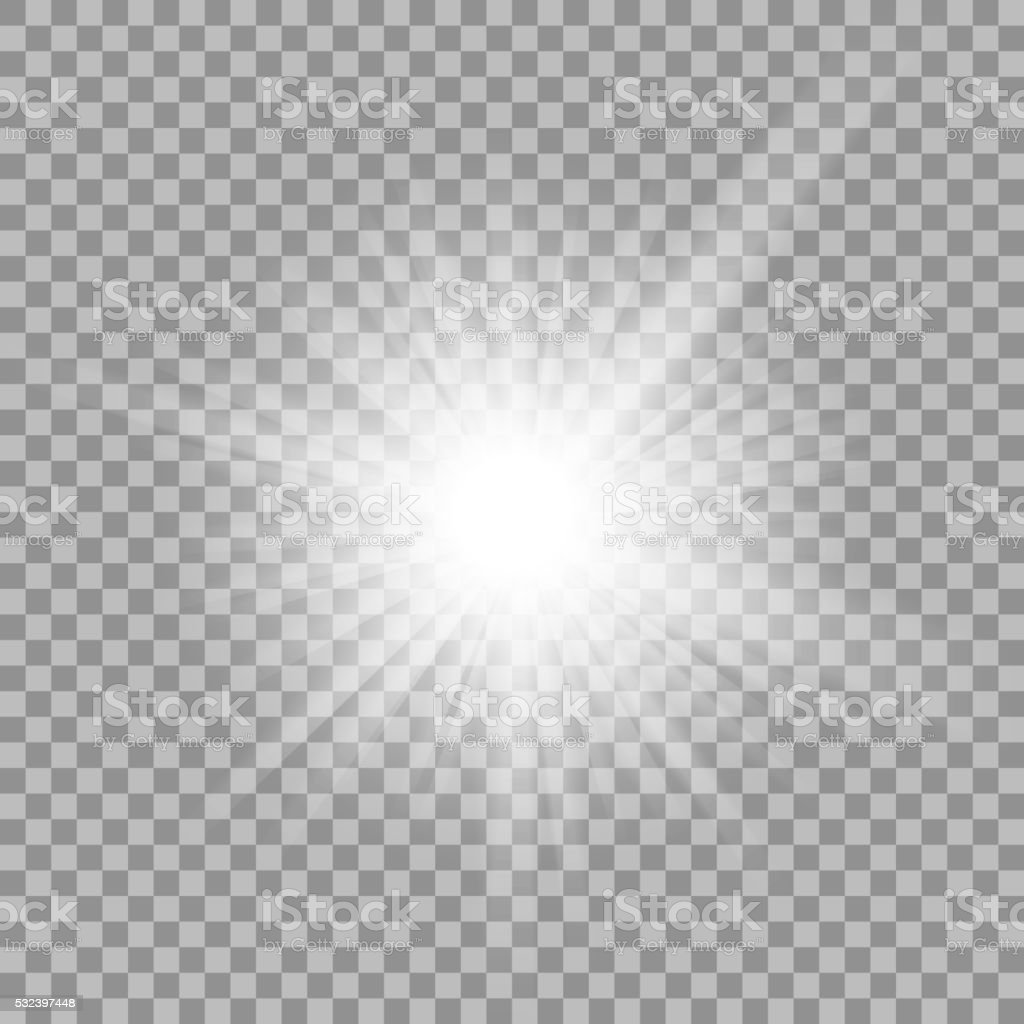 White glowing light burst on transparent background vector art illustration