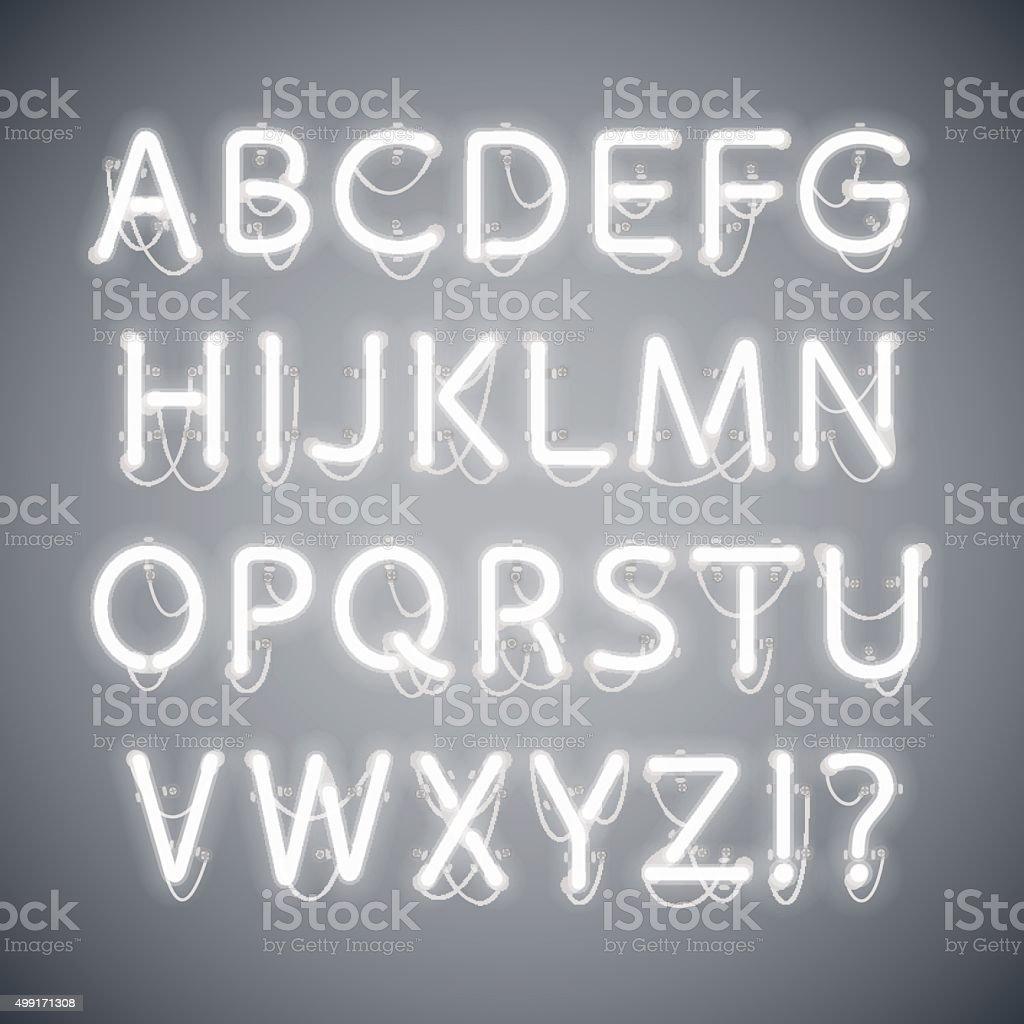 White Glowing Neon Alphabet vector art illustration