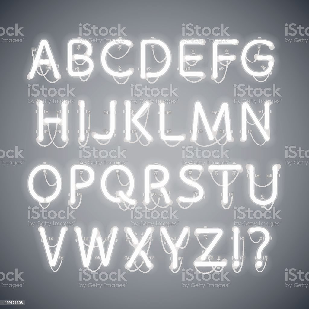 White Glowing Neon Alphabet vector art illustration