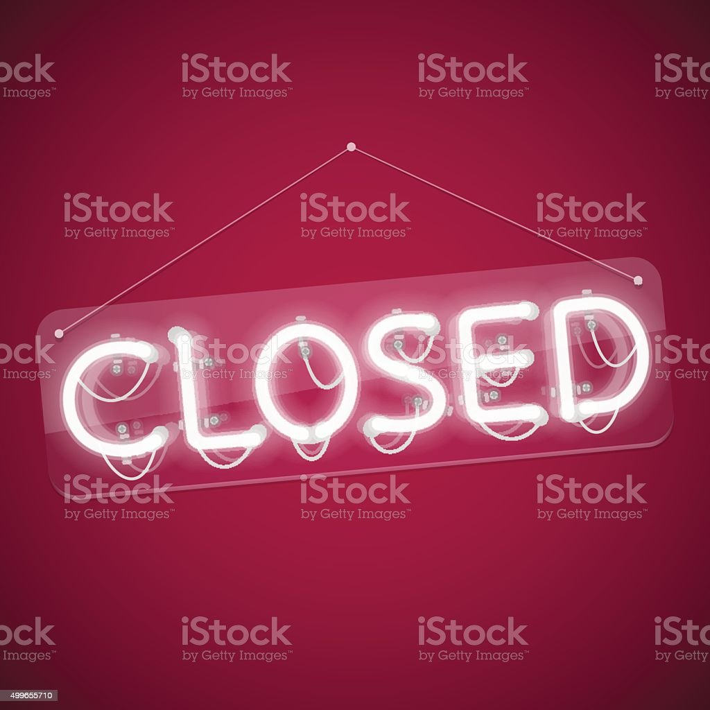 White Glowing Neon Closed Sign vector art illustration