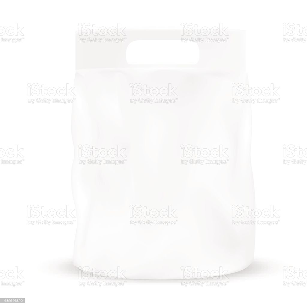 White gray packaging pocket snack bag with hole to handle vector art illustration