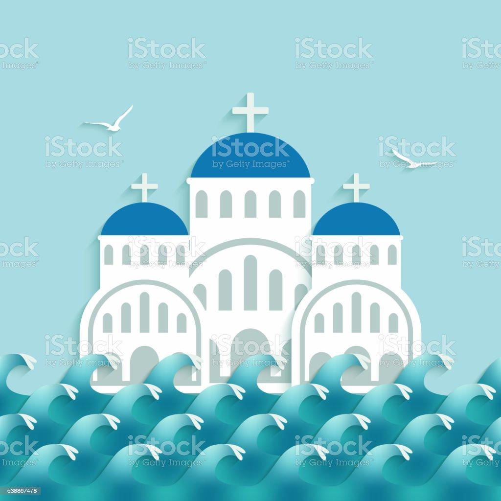 White Greek Church near blue sea vector art illustration