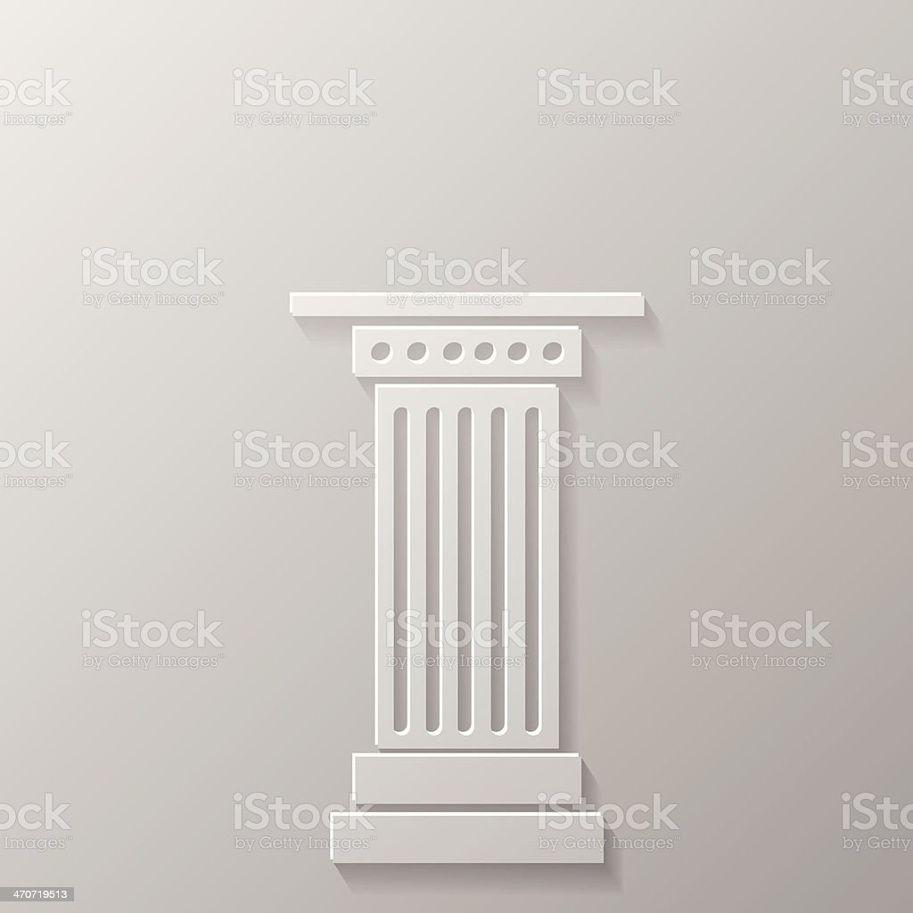 White Greek column icon in relief on a grey background vector art illustration