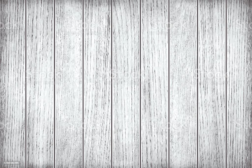 White, grey wooden texture, old painted planks vector art illustration