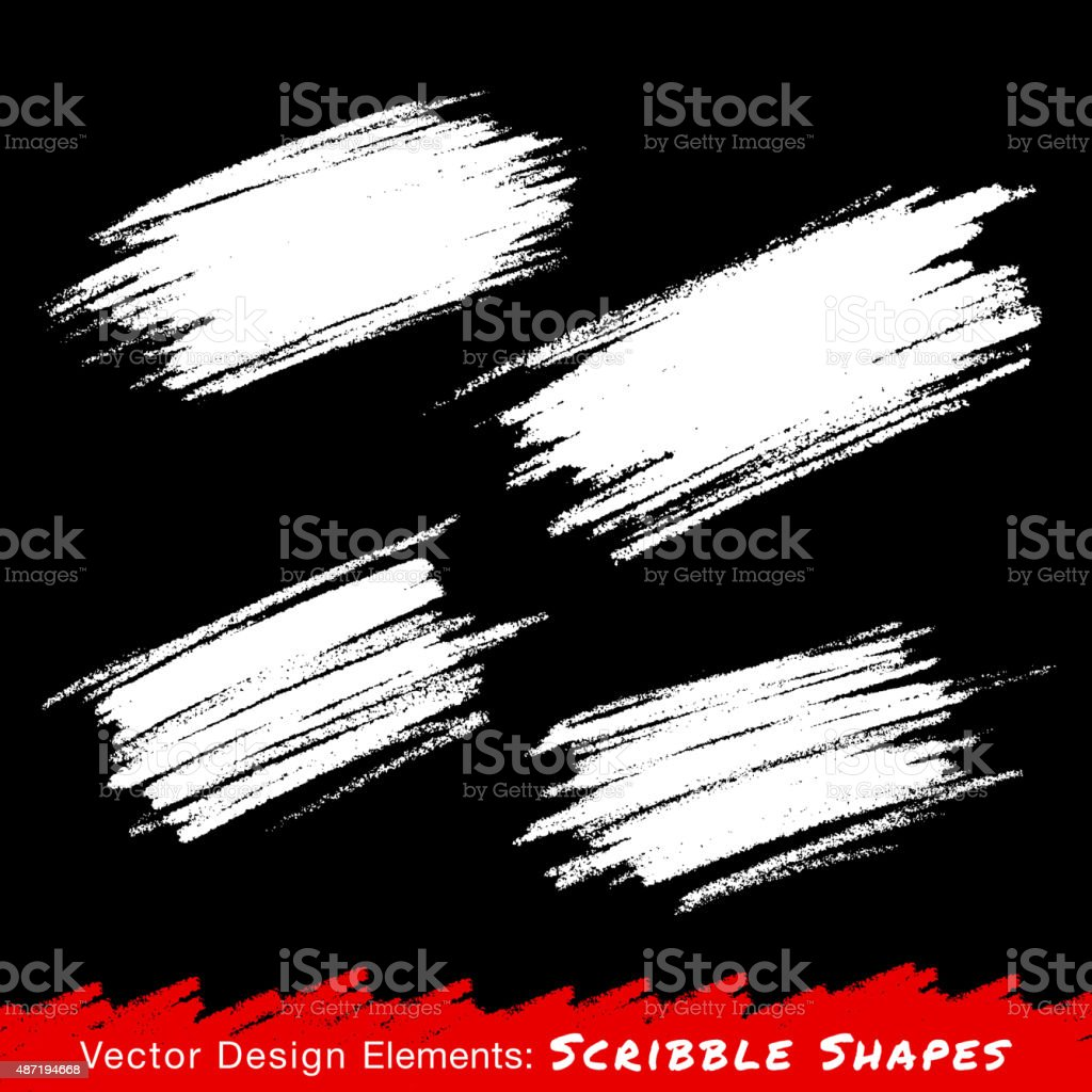 White Hand drawn Scribble Stains vector art illustration