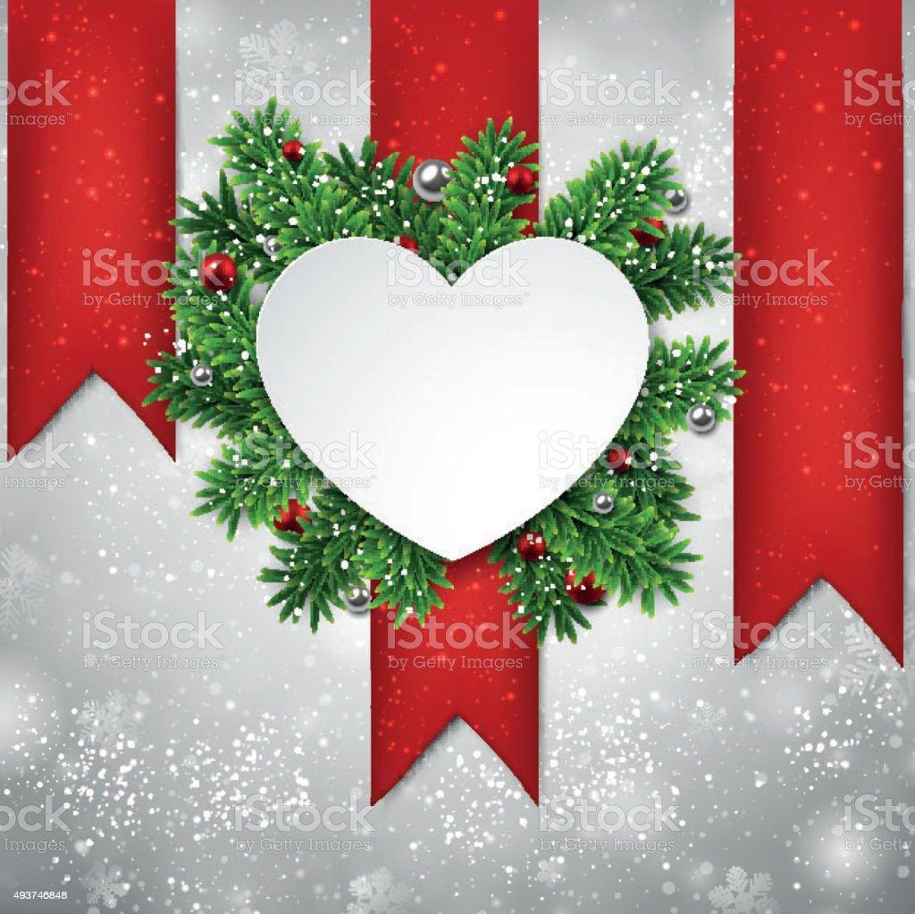 White heart paper christmas card vector art illustration