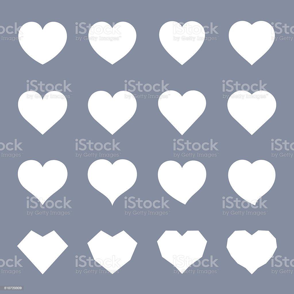 White Heart Symbol Set vector art illustration