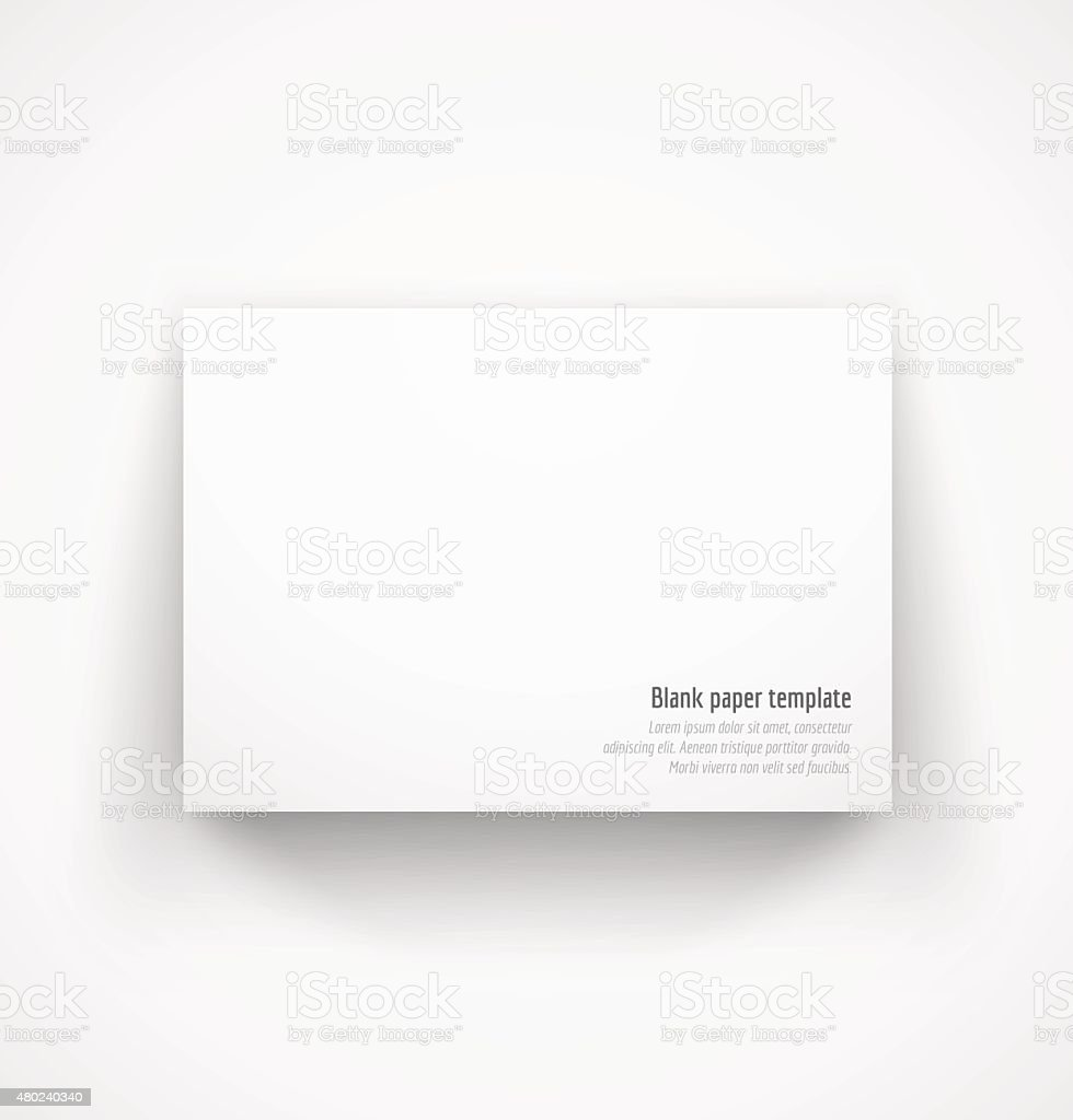 White horizontal paper template mock-up with drop shadow vector art illustration