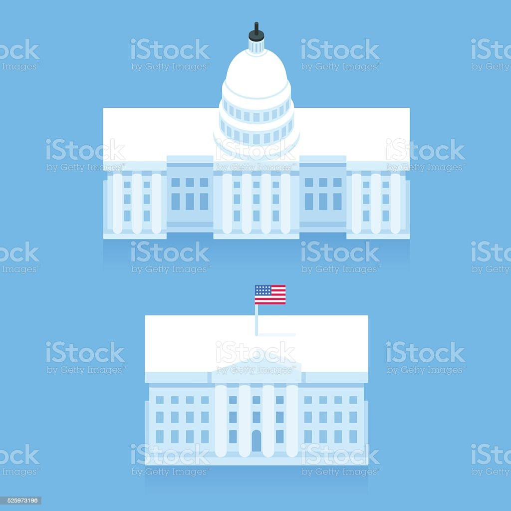 White House and Capitol building vector art illustration