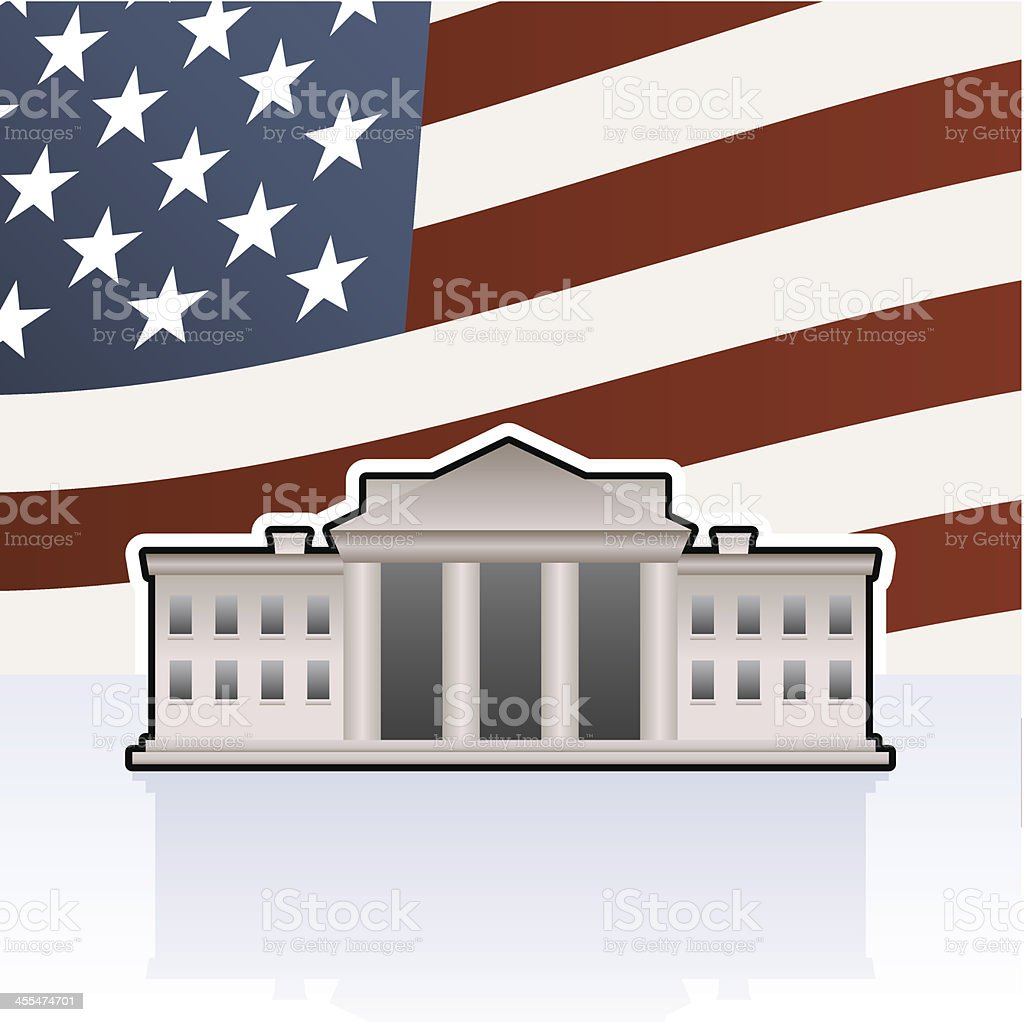 White house and flag royalty-free stock vector art