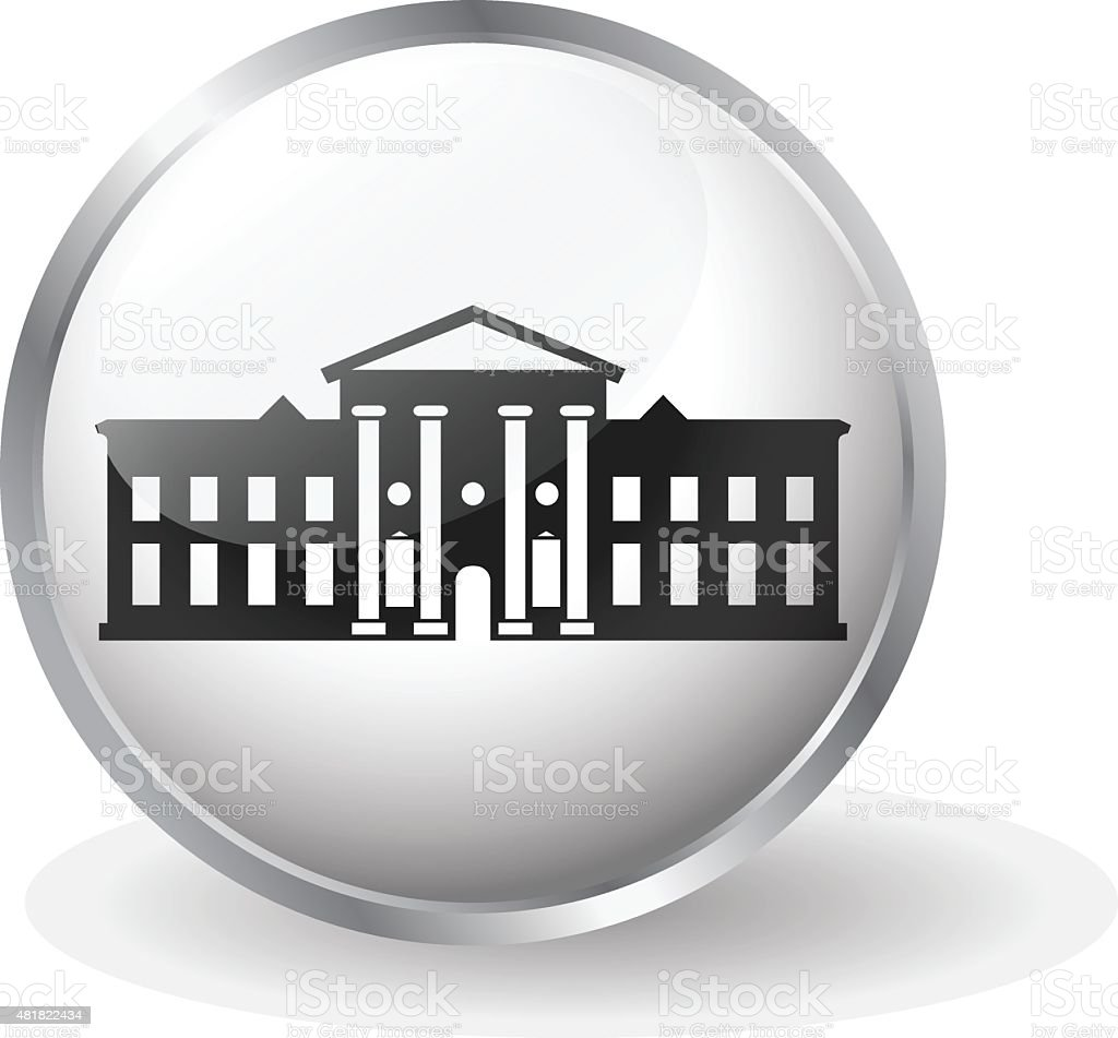 White House icon button vector vector art illustration