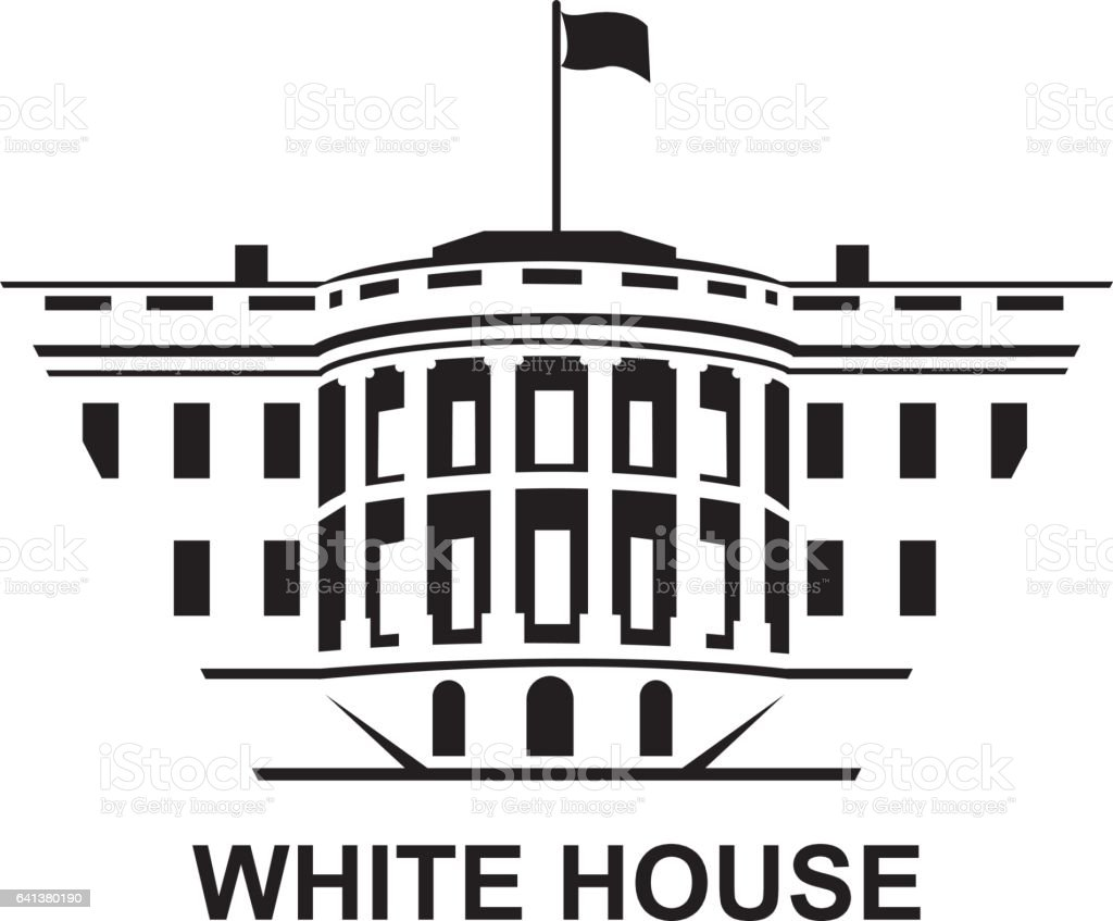 white house icon vector art illustration
