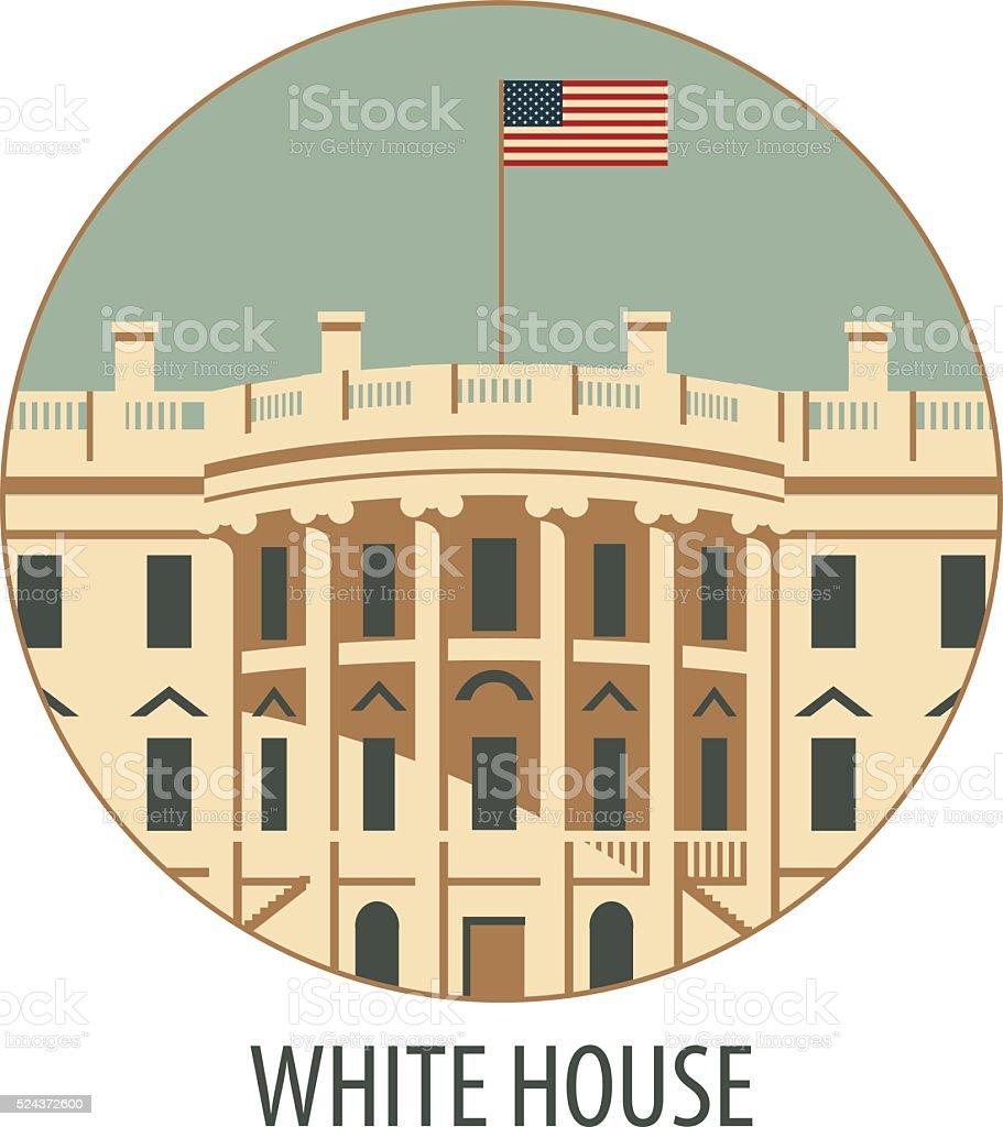white house washington dc vector art illustration