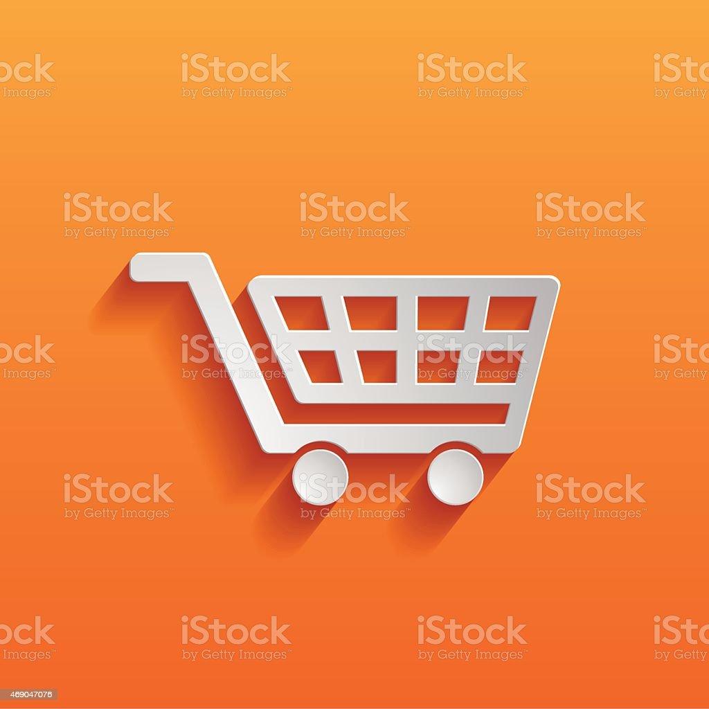 White icon of a shopping cart on orange background  vector art illustration