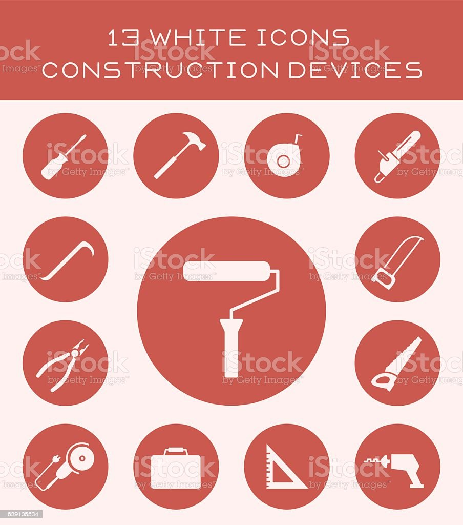 13 white icons construction devices. vector art illustration