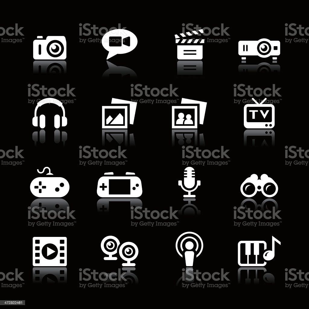 White Icons Set | Multimedia royalty-free stock vector art