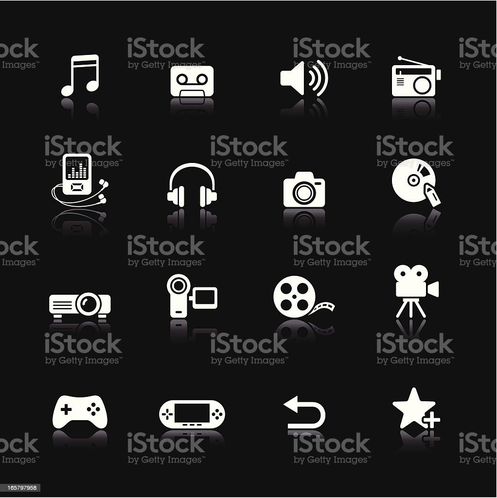White icons set with multimedia vector art illustration