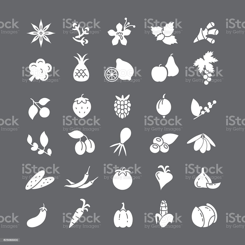 White icons with fruits and vegetables. vector art illustration
