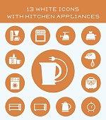 13 white icons with kitchen appliances.